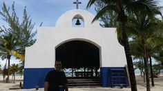 The husbter in front of a church there. I stepped inside to pray.