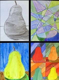One Pear.Four Art Styles. grade Pinned from Michelle McGrath. I would like to know the origin of this lesson since the pin is only linked to the picture and not the site of origin. Middle School Art Projects, High School Art, 7th Grade Art, Art Lessons Elementary, High Art, Preschool Art, Art Lesson Plans, Art Classroom, Art Plastique