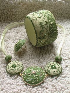 Embroidered Necklace and Bracelet