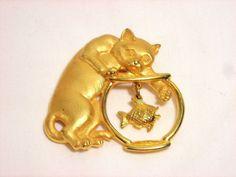 JJ Jonette Cat Fish Goldtone Pin Brooch  #JJJonette