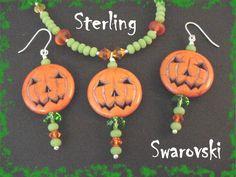 Jack O Lantern Pumpkin Sterling Silver 24 Swarovski Halloween Beads, Halloween Jack, Halloween Jewelry, Halloween Earrings, Halloween Patterns, Halloween Stuff, Holiday Jewelry, Fall Jewelry, Jewelry Crafts