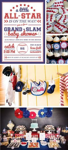 A Grand Slam baby shower is a great baseball themed shower for a sporty little slugger on-the-way! ⚾