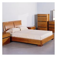 Largest Bedroom Sets collection: The Maya 5 PC Solid Wood Platform Bedroom Set in Teak (Bed, 2 Nightstands, Dresser and Mirror) - Beverly Hills Furniture Inc. features bed with a convenience and sophi Platform Bed Sets, Platform Bedroom, Bedroom Furniture Sets, Bed Furniture, Furniture Design, Cheap Furniture, Discount Furniture, Contemporary Bedroom Sets, Bedroom Bed Design