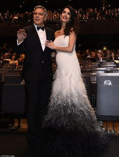 Pregnant Amal Clooney with her husband George Clooney George Clooney, Amal Clooney Baby, Amal Clooney Wedding Dress, Hollywood Stars, Celebrity Couples, Celebrity Style, Maternity Gowns Formal, Human Rights Lawyer, Marriage Help