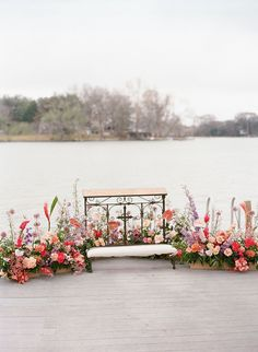 Romantic, whimsical, lush... this February wedding on a lake in Texas is chock full of our favorite things. No surprise they all involve flowers! A winding flower aisle ceremony just off the water, a pink checkered dance floor canopied by a fresh floral ceiling, mid-century modern lounges with rattan chairs, geometric bars and velvet upholstery... we should just let you see it with your own eyes, yes? Wedding Locations, Wedding Vendors, Wedding Ceremony, Wedding Ideas, February Wedding, Backdrops, Backdrop Ideas, Winter Wedding Flowers, Floral Backdrop