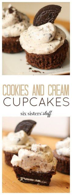 Cookies and Cream Cupcakes from Six Sisters' Stuff | These cupcake recipe is so easy to make and tastes gourmet! From the Oreo cookie bottom, all the way to the creamy cookie frosting. It's impossible to stop at one…