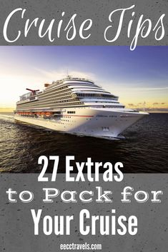 I am continuing with our cruise tips, which total 101 in all! Today we are looking at extras to pack! Here is a list of 27 extras to pack on a cruise besides a swimsuit and a smile! Honeymoon Cruise, Bahamas Cruise, Cruise Travel, Cruise Vacation, Disney Cruise, Vacations, Princess Cruises Caribbean, Cruise Tips Royal Caribbean, Cruise Checklist