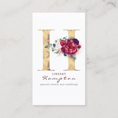 LOVELYWOW studio: products on Zazzle Vintage Business Cards, Gold Business Card, Elegant Business Cards, Custom Business Cards, H Monogram, Watercolor Business Cards, Harvest Decorations, Burgundy And Gold, Gold Letters