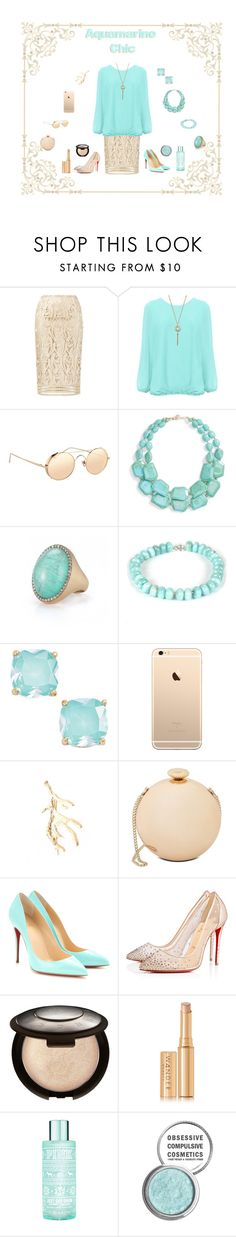 """""""♒  Aquamarine Chic ♒"""" by wearall ❤ liked on Polyvore featuring N°21, WearAll, Linda Farrow, Natasha Couture, Roberto Coin, Esenelle, Kate Spade, Love Moschino, Christian Louboutin and Becca"""