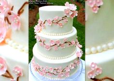Beautiful Cherry Blossom Cake Design Tutorial by MyCakeSchool.com. Online Cake Tutorials & Recipes!