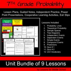 This unit covers all of the 7th Grade Common Core Math Standards associated with Probability.   We made this bundle to comprehensive so a teacher can download the bundle and then immediately use all of the resources in their classroom  We will be continuing to build upon these lessons and all future updates of resources will be provided to you absolutely free of charge.