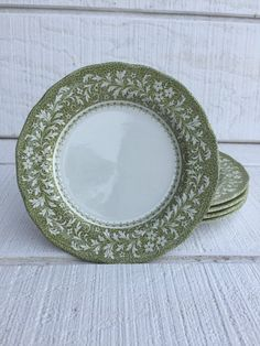 Vintage China green and white ironstone plates by Bridal Luncheon, Furniture Placement, Brunch Wedding, Pie Plate, Pie Dessert, Small Plates, Vintage China, Tea Set, Tea Party