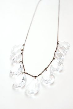 Statement Necklace with Clear Drop Beads on a Delicate by niloulu, $37.00