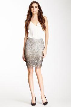 Metal Sequin Pencil Skirt