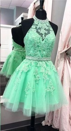 XH56 High Neck Short Lace Homecoming Dress,Short Lace Tulle Prom Dress – FashionDressGallery