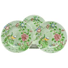 Set of Ten Copeland Spode all-Over Chintz Green Enamel Dinner Plates, circa 1911 1