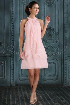 #85259 - Knee Length Sleeveless Sheath Chiffon Dress - Simply Bridal