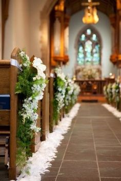 New Wedding Church Decorations Aisle Ceremony Seating Ideas Wedding Church Aisle, Church Wedding Flowers, Ceremony Seating, White Wedding Bouquets, Church Ceremony, Wedding Ceremony Decorations, Chapel Wedding, Floral Wedding, Fall Wedding