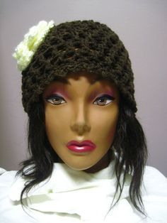 Brown Lacy Hat with Off White Button Flower Accent