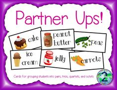 Partner Ups! Cards for Partnering and Grouping StudentsGroup your students quickly and easily with these cards!  There are a myriad of cards to choose from which can be used in multiple ways. Group in pairs or up to eight students at a time. Included are:      We go together like Groups of two 21 pairs     We go together like Opposites groups of two         18 pairs    We go together like a song Groups of two10 pairs    We go together like a story and its title Groups of two 14 pairs    We…