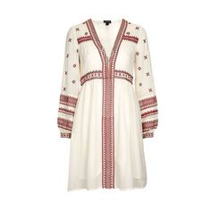 TopShop Grecian Smock Dress (2 730 UAH) ❤ liked on Polyvore featuring dresses, red, bohemian dresses, red white dress, grecian dress, red dress and white embroidered dresses
