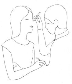 Couple drawing each other. Curiously, their eyes are closed. Drawing by Geoff McFetridge. More in: http://geoffmcfetridge.tumblr.com/