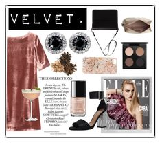 """""""Pink Velvet Dress."""" by dchatzin ❤ liked on Polyvore featuring Polaroid, Toast, Carvela, Orla Kiely, Crate and Barrel, MAC Cosmetics, Anrealage and Anya Hindmarch"""