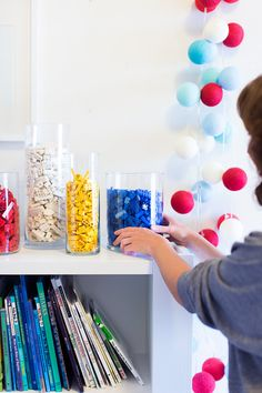 We love this creative (and decorative) way to store legos.