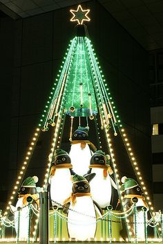 Christmas Tree with Penguins in Tokyo, Japan