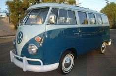 Blue and White Volkswagen Bus