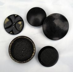 Vintage Buttons, Large Black Wood and Plastic, Shank, Sew Through, Textured, for Sewing, Jewelry, Crafts, Lot of 5 $7.00 thecraftstar, vintage buttons, black buttons, crafting supplies
