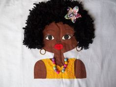 FEITA A MÃO ALGODÃO 30.1 CAMISETA NADADOR OU BABYLOOK FAÇO DO TAMANHO 34 AO 42 CONSULTE AS MEDIDAS DA CAMISETA CABELO EM LÃ FACILMENTE REMOVIDO MODELO EXCLUSIVO Painted Bags, Textiles, Fabric Painting, Hair Humor, African Art, Black Art, Shirt Style, Clip Art, Wonder Woman