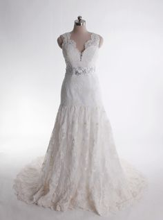 V-neck trumpet/mermaid lace bridal gown....perfect!