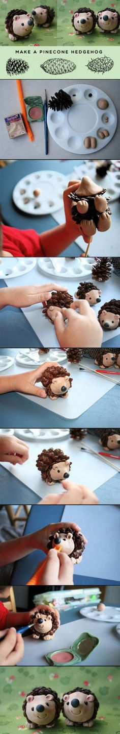 These DIY Pinecone Hedgehogs are the perfect autumn or winter crafts for kids.  They are incredibly easy to do and cost almost nothing.  Not only are they a fun craft to make with your kids, they will also look adorable around the house.