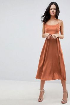 online shopping for ASOS Square Neck Cami Dress Midi Length from top store. See new offer for ASOS Square Neck Cami Dress Midi Length Cami Midi Dress, Asos Dress, Copper Dress, Color Cobre, Fashion Dresses, Women's Fashion, Fashion Online, Fashion Websites, Fashion Stores