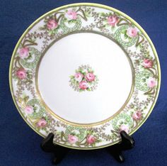 "Vintage Beautiful Hand Painted RC Nippon 8 1 2"" Plate w Roses Gold Accents 