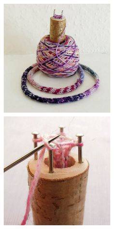rainbowsandunicornscrafts: DIY Spool Knitting or French Knitting for Kids Tutori. rainbowsandunicornscrafts: DIY Spool Knitting or French Knitting for Kids Tutori 2019 rainbowsand Spool Knitting, Knitting For Kids, Knitting Projects, Baby Knitting, Knitting Patterns, Art Du Fil, Wooden Spools, Thread Spools, Chunky Yarn