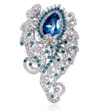 Vintage Crystal Dangle Brooch High-end Rhinestone Brooch Beautiful Alloy Waterdrop Brooch Pins For Women Cloth Scarf Accessories(China (Mainland))
