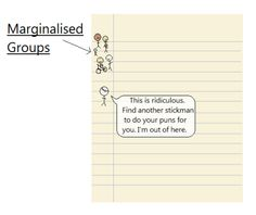 "What is a marginalised group? A synonymous term is 'systematically oppressed'. This is an accurate analysis, but I prefer not to use it as as I feel it perpetuates the victim status of members of a group. It's personal preference. Some examples of people within marginalised groups are LGBTQ, female, black, disabled and dragons. Admittedly dragons less so, in the realms of real life…   ""An Adventure in Fence Theft"""