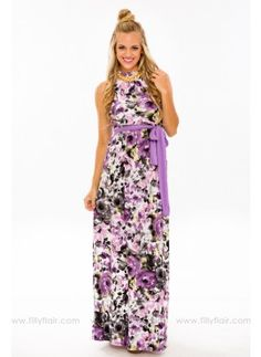 This floral maxi dress will leave you feeling incredible this summer. The high neckline, flowing skirt and stunning floral pattern make this a stand out dress. Pair it with your favorite wedge or heel. https://www.fillyflair.com/?acc=1049