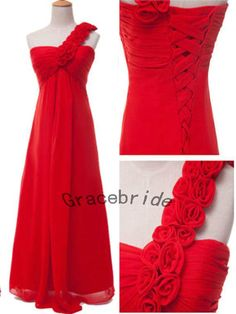 red chiffon dresses cute sweet one shoulder design with flower prom dresses long bridesmaid dresses wedding dresses homecoming dresses on Etsy, $128.00