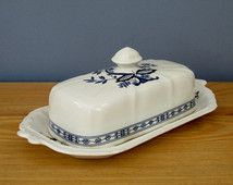 1960s Blue and White Cheese Butter Dish Made in England by Price Kensington