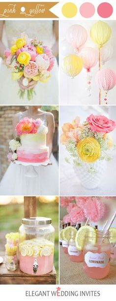 pink and yellow wedding color ideas for 2017 spring