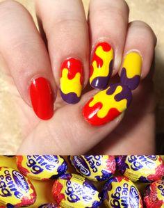 cadbury creme egg nails #nailart