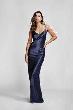 Lexi Carmen Dress Navy The Style Squad Boutique &b Dress Hire Australia Navy Satin Dress, Satin Dresses, Camilla Dress, Dress Hire, Floor Length Gown, Fashion Tips For Women, Fashion Ideas, Fashion Trends, Vogue Fashion