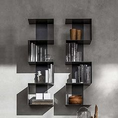 Contemporary metal modular bookshelf Viper by Santa Lucia, can be hanged vertically or horizontally, 100 cm length or hight buy online