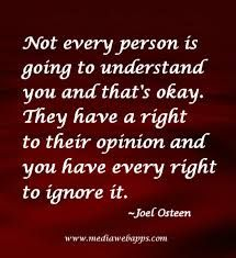 Not Every Person Is Going To Understand You And That's Okay. They Have A Right To Their Own Opinion And You Have Every Right To Ignore It. -Joel Osteen