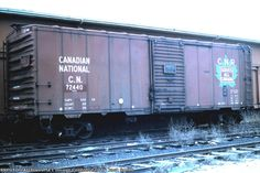 CN 72440 Date: 4/4/1988Location: Sarnia, ONCAMapViews: 181Collection Of:  Jack Smith Rolling Stock:CN 72440 (Box Car)Au... Train Car, Train Tracks, Canadian National Railway, Railroad Photography, Old Trains, Train Pictures, Rolling Stock, Ho Scale, Diesel Engine