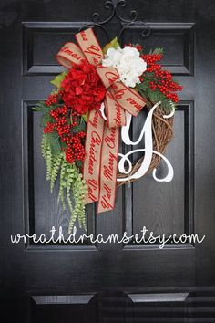 Lux Christmas Hydrangea & Pine Grapevine Wreath by WreathDreams