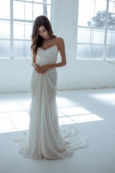 12 Stunning Wedding Dresses for Non-Traditional Singapore Brides Anya wedding dress by Karen Willis Holmes with sequins and spaghetti straps on a flattering shape for [. Sheer Wedding Dress, Stunning Wedding Dresses, Wedding Dresses Photos, Wedding Dresses Plus Size, Designer Wedding Dresses, Bridal Dresses, Wedding Gowns, Sequin Wedding, Reception Dresses